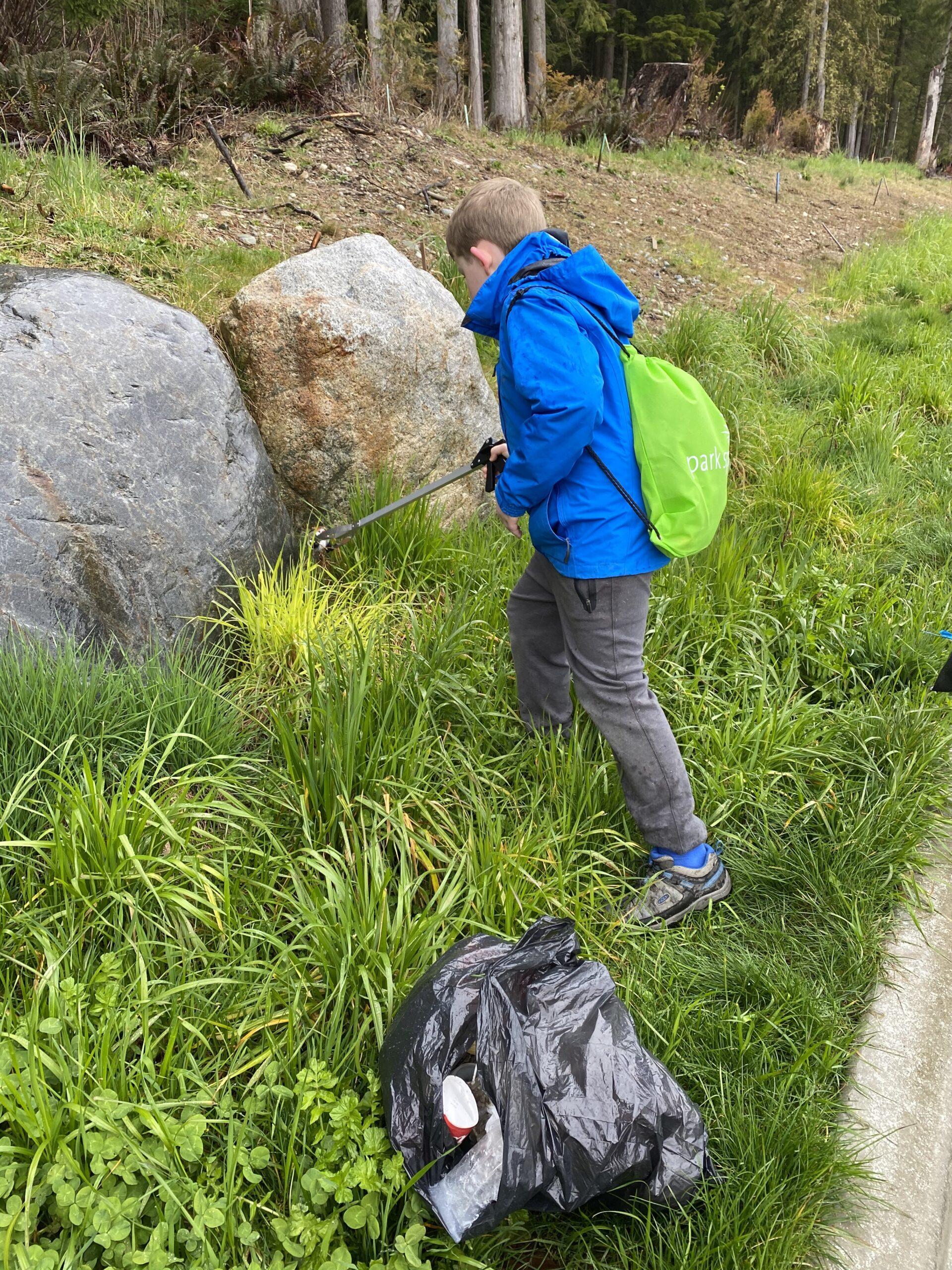 Picking up litter in Harper Park